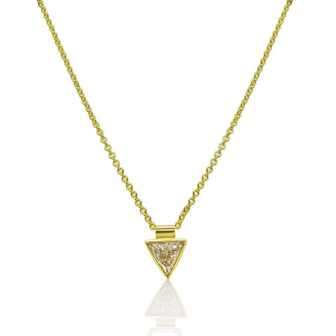Image of Luxinelle 0.44 Carat Bezel 14K Yellow Gold Trillion Cut Diamond Necklace Handmade - Necklace