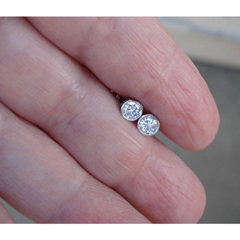 Image of Luxinelle 0.50 Carat 14K White Gold Extra Thin Bezel Diamond Stud Earrings - Earrings