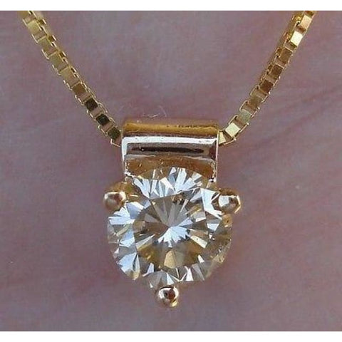 Image of Luxinelle 0.50 Carat Champagne Diamond Solitaire Pendant On A Chain 14K Yellow Gold - Necklace