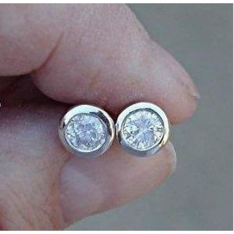 Image of Luxinelle 0.50 Carat Diamond Earrings Bezel Solitaire Half Carat - Earrings
