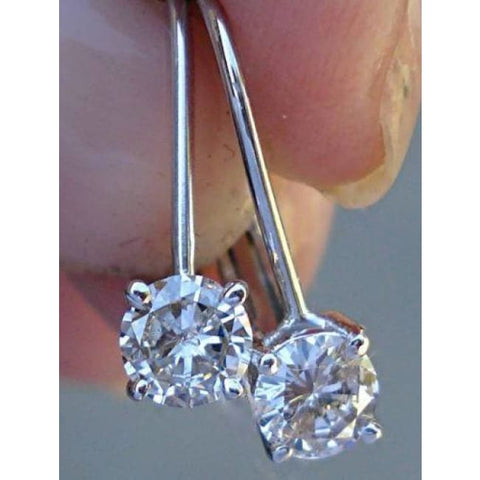 Image of Luxinelle 0.50 Carat Diamond Earrings - Solitaire Leverback Drop 14K (Yellow Gold White Gold And Rose Gold) - Earrings