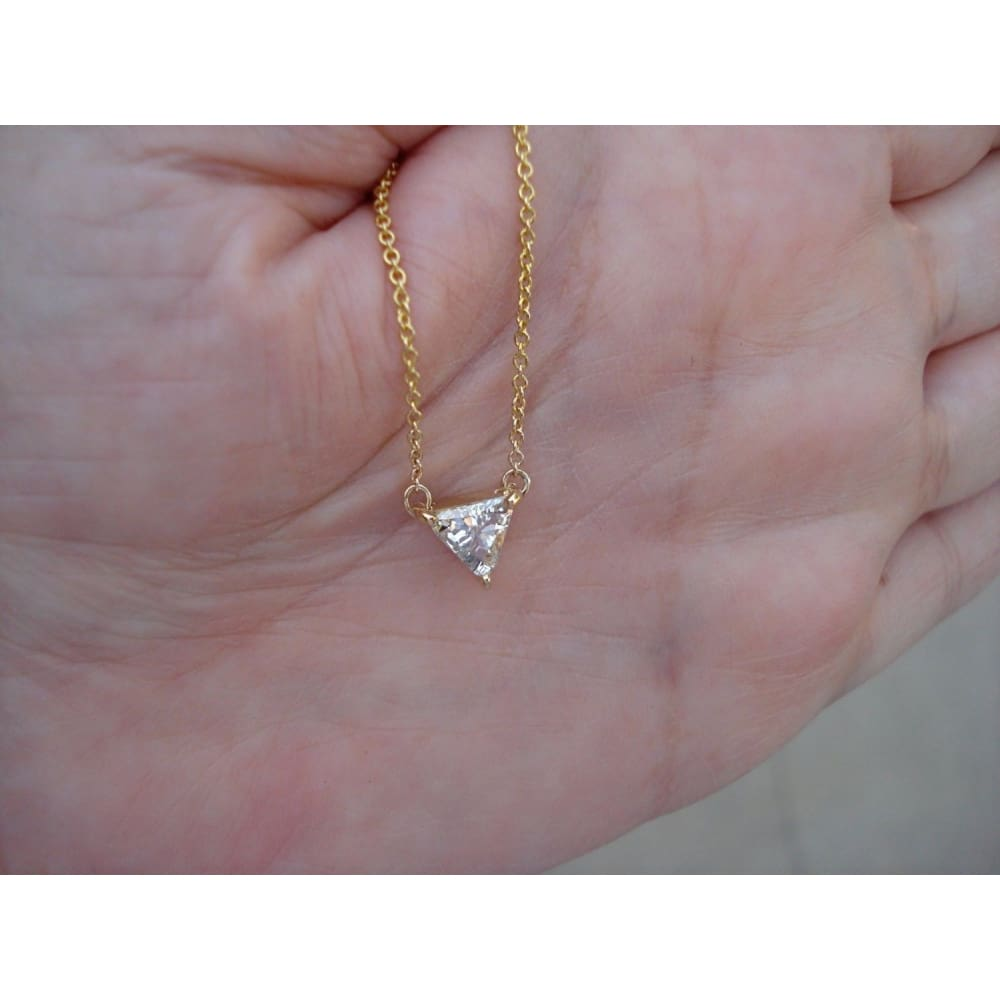 Luxinelle 0.50 Carat Trillion Cut Diamond Pendant Necklace - Minimalist 14K Rose White Or Yellow Gold - Necklace