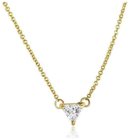 Image of Luxinelle 0.50 Carat Trillion Cut Diamond Pendant Necklace - Minimalist 14K Rose White Or Yellow Gold - Necklace