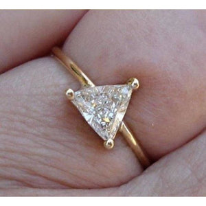 Luxinelle 0.50 Carat Unique Trillion Cut Diamond - 14K Yellow Gold - Minimalist Ring By Luxinelle® Jewelry - Ring