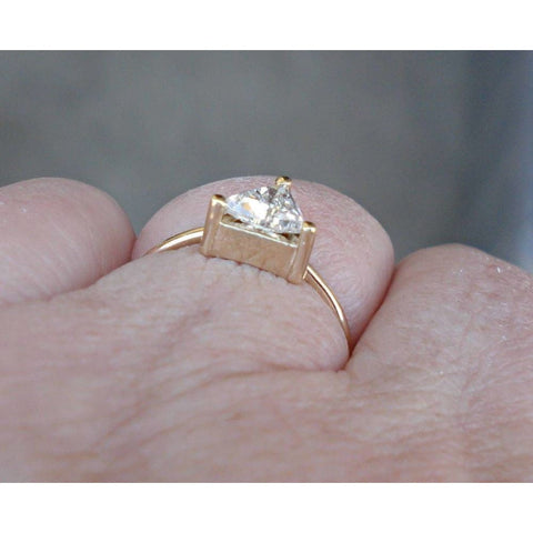 Image of Luxinelle 0.50 Carat Unique Trillion Cut Diamond - 14K Yellow Gold - Minimalist Ring By Luxinelle® Jewelry - Ring