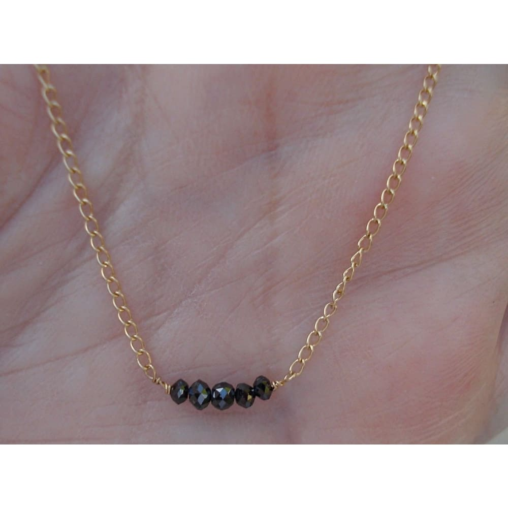Luxinelle 0.50 Half Carat Rose Cut Black Diamonds On A 14K Yellow Gold Chain - Necklace