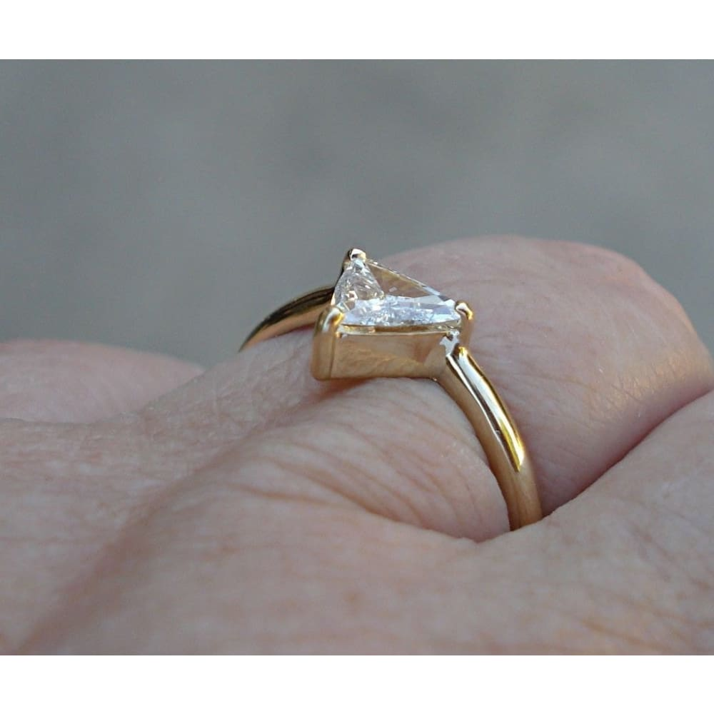 Luxinelle 0.56 Carat Trillion Cut Minimalist Style Ring - 14K Yellow Gold By Luxinelle® Jewelry - Ring