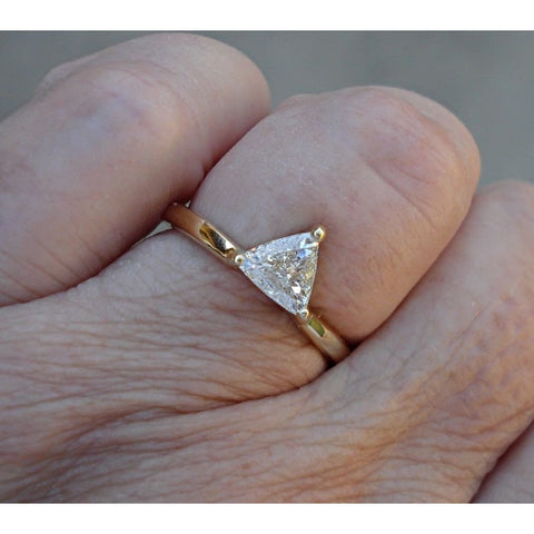 Image of Luxinelle 0.56 Carat Trillion Cut Minimalist Style Ring - 14K Yellow Gold By Luxinelle® Jewelry - Ring