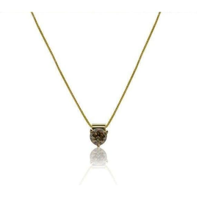 Luxinelle 0.57 Carat Brown Diamond Solitaire 3 Prong Pendant On A Chain - 14K Yellow Gold - Necklace
