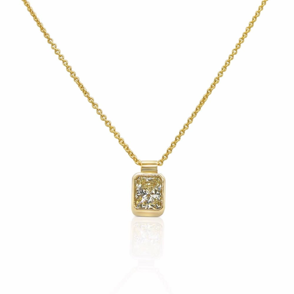 Luxinelle 0.59 Carat Radiant Cut Bezel Diamond Solitaire Pendant On A Chain - 14K Yellow Gold - Necklace