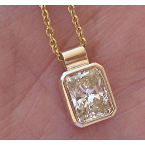 Image of Luxinelle 0.59 Carat Radiant Cut Bezel Diamond Solitaire Pendant On A Chain - 14K Yellow Gold - Necklace