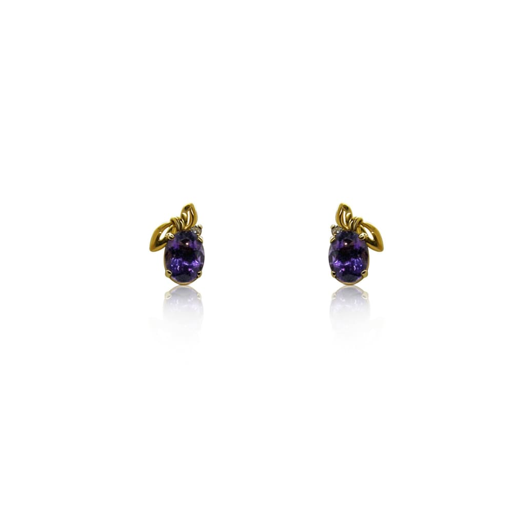 Luxinelle 0.82 Tanzanite And Diamond 14K Yellow Gold Stud Earrings - Earrings