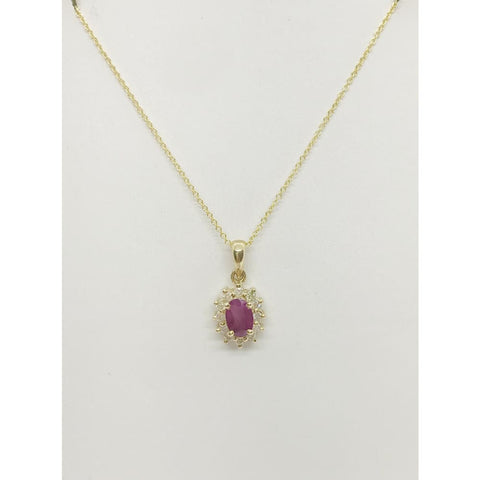 Image of Luxinelle 0.83 Cttw. Ruby In Diamond Halo Pendant In 14K Yellow Gold - Necklace