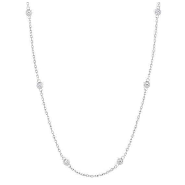 Luxinelle 0.90 Carat 10 Bezeled Diamonds On A Chain - 14K White Yellow Or Rose Gold - Necklace