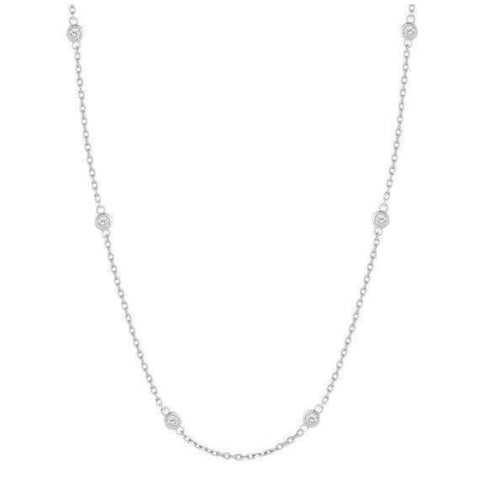 Image of Luxinelle 0.90 Carat 10 Bezeled Diamonds On A Chain - 14K White Yellow Or Rose Gold - Necklace