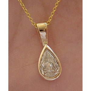 Luxinelle 0.91 Carat Pear Cut Certified Diamond In Handmade Yellow Gold Bezel - 14K - Necklace
