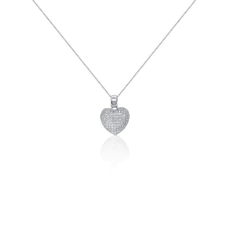 Luxinelle 1.28 Carat Round Diamond Heart Pendant - 14K White Gold Pave Diamond Necklace - Necklace