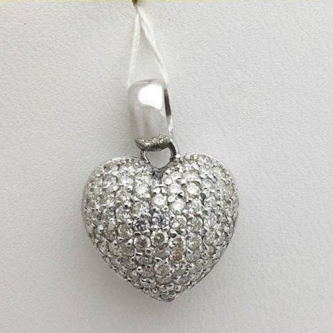 Image of Luxinelle 1.28 Carat Round Diamond Heart Pendant - 14K White Gold Pave Diamond Necklace - Necklace