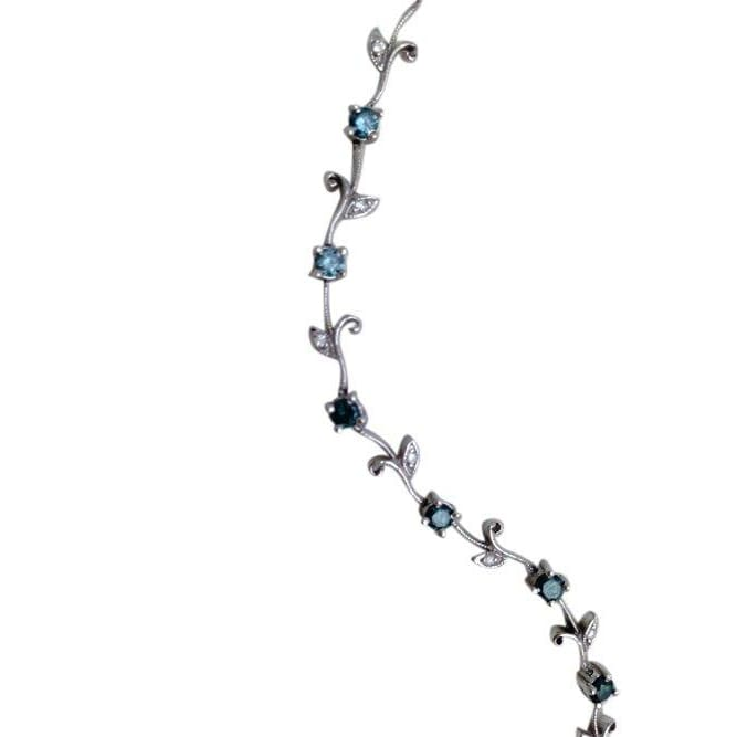 Luxinelle 1.31 Carat Blue And White Diamond Bracelet Floral Rose Chain 14K White Gold - Bracelet