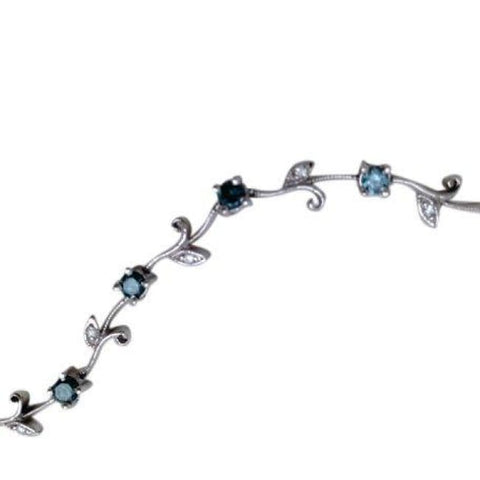Image of Luxinelle 1.31 Carat Blue And White Diamond Bracelet Floral Rose Chain 14K White Gold - Bracelet