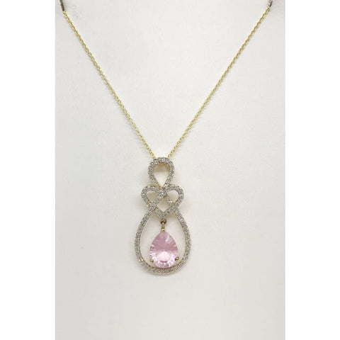 Image of Luxinelle 1.41 Carat Pink Quartz And Diamond Teardrop Heart Pave Pendant In 14K Yellow Gold - Necklace