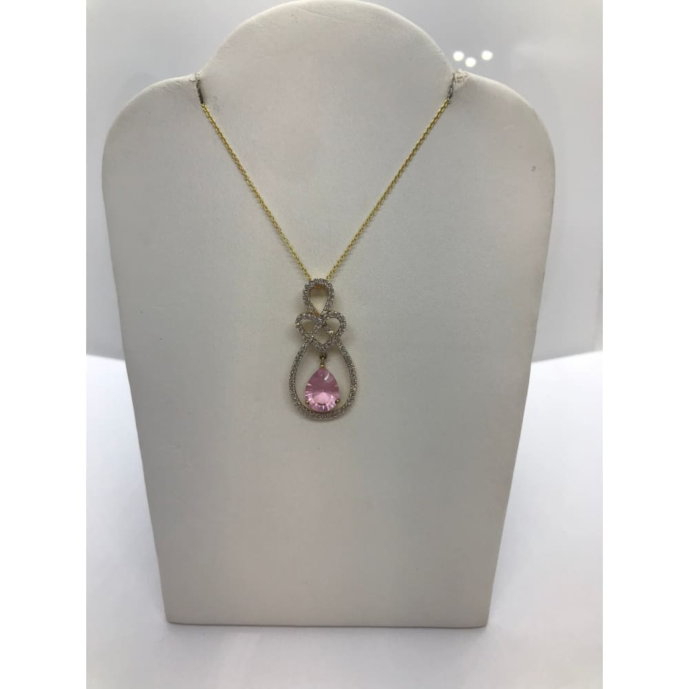 Luxinelle 1.41 Carat Pink Quartz And Diamond Teardrop Heart Pave Pendant In 14K Yellow Gold - Necklace