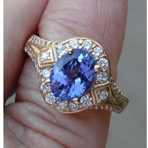 Luxinelle 1.56 Carat Tanzanite And Diamond Ring - 14K Yellow Gold By Luxinelle® Jewelry - Ring