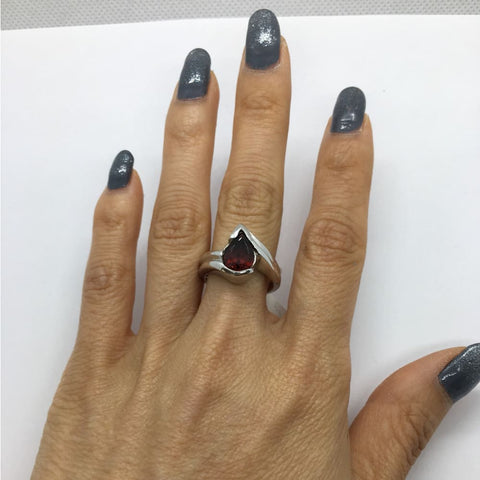 Luxinelle 1.7 Carat Pear Shaped Red Garnet And 14K White Gold Ring By Luxinelle® Jewelry - Ring