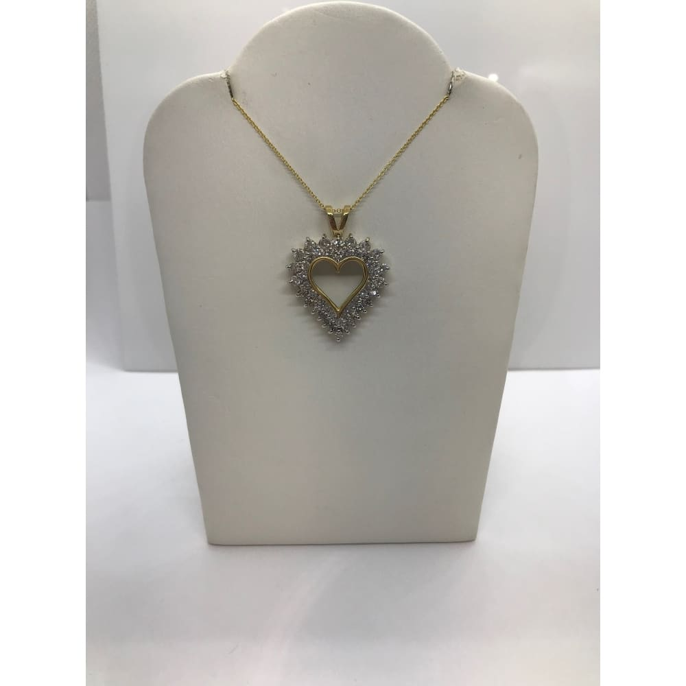 Luxinelle 1.82 Carat Double Halo Heart Shaped Diamond Pendant - 14K Yellow Gold - Necklace