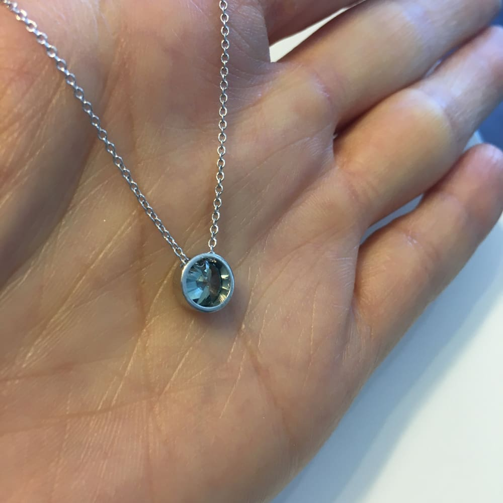 Luxinelle 1 Carat Blue Diamond Bezel Pendant In 14K White Gold On 18 Inch Adjustable Chain - Necklace