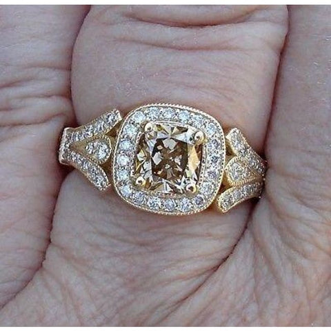 Luxinelle 1 Carat Certified Brown Diamond Cushion Cut Si1 In 14K Yellow Gold Ring By Luxinelle® Jewelry - Ring