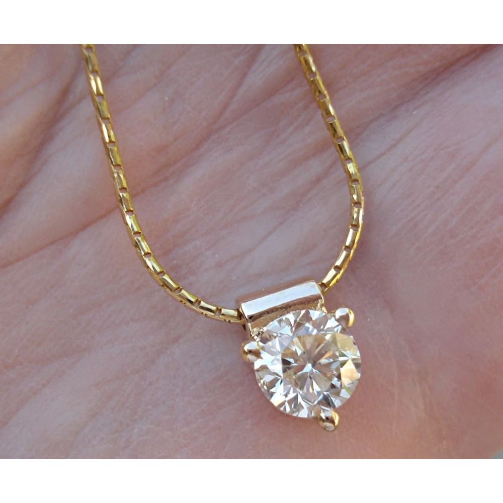Luxinelle 1 Carat Diamond Solitaire Pendant - 3 Prong Setting (14K Yellow Gold) - Necklace