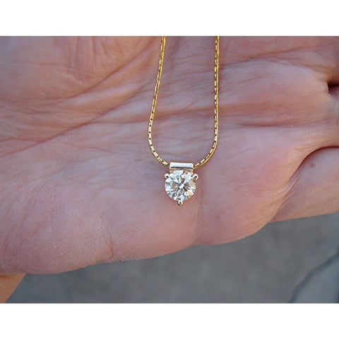 Image of Luxinelle 1 Carat Diamond Solitaire Pendant - 3 Prong Setting (14K Yellow Gold) - Necklace