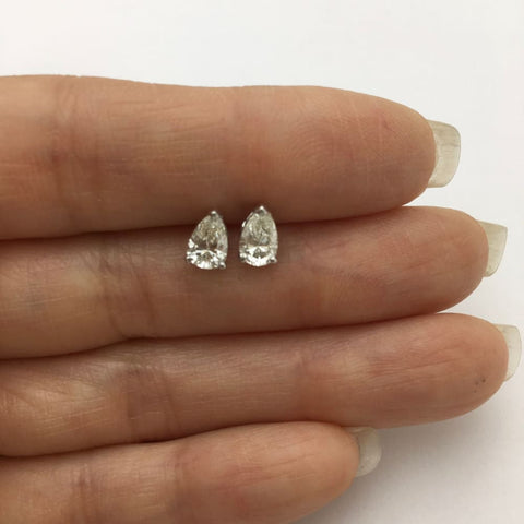 Image of Luxinelle 1 Carat Diamond Stud Earrings - Pear Cut Teardrop Shape 14K White Gold - Earrings