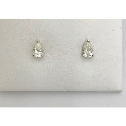 Luxinelle 1 Carat Diamond Stud Earrings - Pear Cut Teardrop Shape 14K White Gold - Earrings