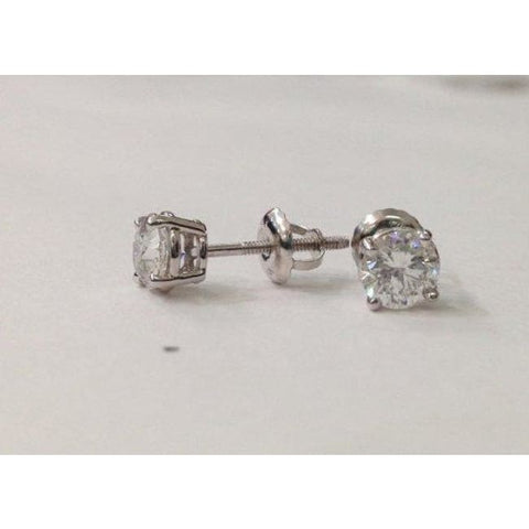 Luxinelle 1 Carat Diamond Stud Earrings - Screwback 4 Prong 18K - Earrings