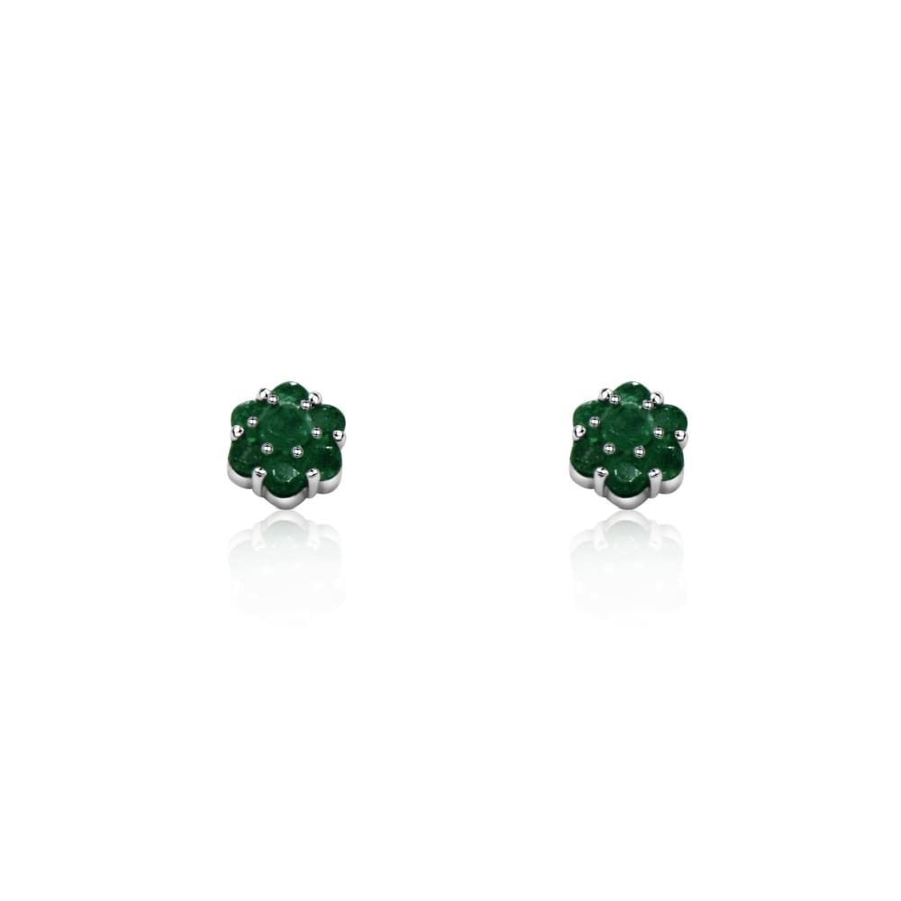 Luxinelle 1 Carat Emerald Flower Cluster Stud Earrings 14K White Gold - Earrings