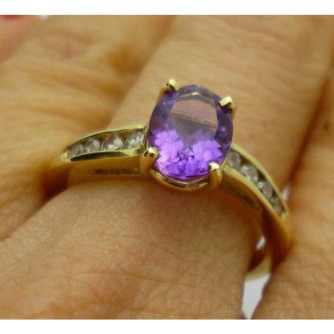 Luxinelle 1 Carat Oval Amethyst And Round Diamond Ring In 14K Yellow Gold 1.27 Cttw By Luxinelle® Jewelry - Ring