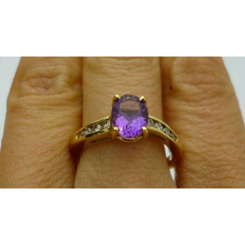 Image of Luxinelle 1 Carat Oval Amethyst And Round Diamond Ring In 14K Yellow Gold 1.27 Cttw By Luxinelle® Jewelry - Ring
