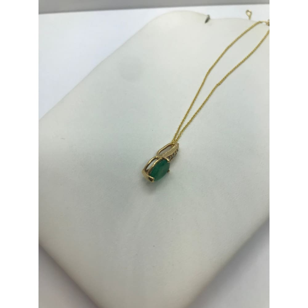 Luxinelle 1 Carat Pear Cut Emerald With 3 Diamonds Pendant 14K Yellow Gold - Necklace