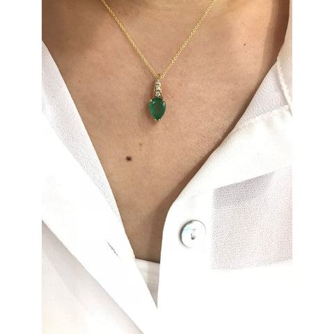 Image of Luxinelle 1 Carat Pear Cut Emerald With 3 Diamonds Pendant 14K Yellow Gold - Necklace
