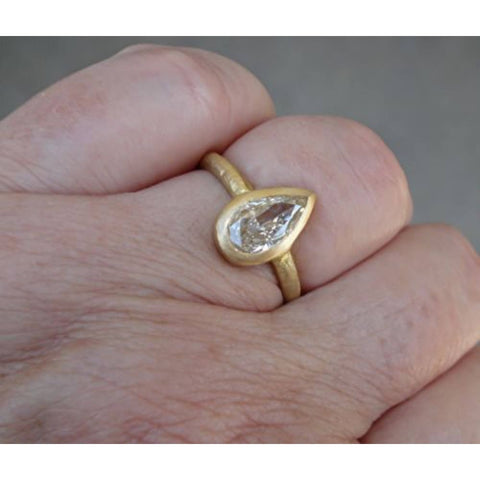 Image of Luxinelle 1 Carat Pear Shaped Diamond Ring - 18K Matte Gold By Luxinelle® Jewelry - Ring