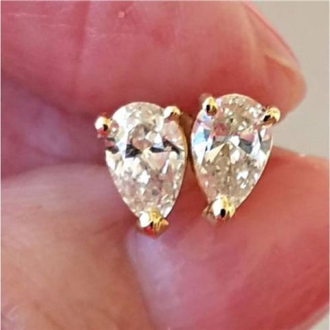 Image of Luxinelle 1 Carat Pear Shaped Diamond Stud Earrings - 14K Yellow Gold Tear Drop Diamonds - Earrings