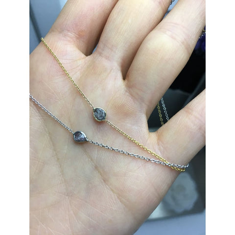 Luxinelle 1 Carat Pink Diamond Necklace - Raw Uncut Rough Diamonds In 14K Bezel And Chain - Necklace