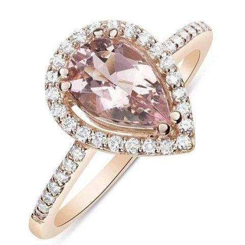 Luxinelle - 1 Carat Rose Gold Pear Cut Morganite Ring With Diamond Halo By Luxinelle® Jewelry - Ring