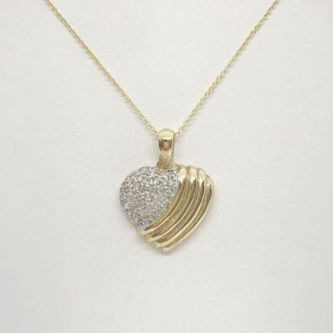 Luxinelle 1 Inch Diamond Heart 14K Yellow Gold Pendant On A Chain - Necklace