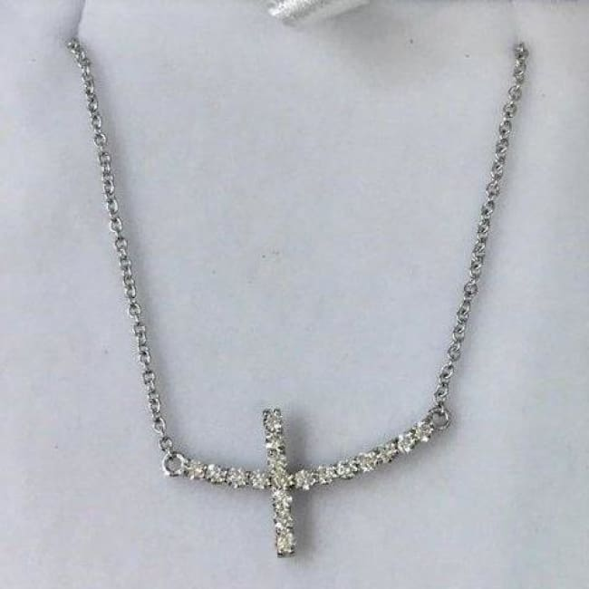 Luxinelle 1 Inch Diamond Sideways Curved Cross On A Chain - 14K White Gold - Necklace