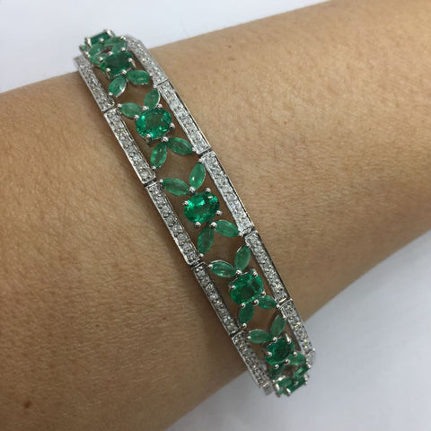 Image of Luxinelle 11.43 Carat Emerald And Diamond Statement Formal Bracelet Flowers - 14K White Gold 7 Inches - Bracelet
