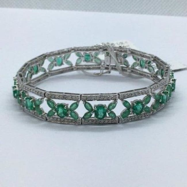 Luxinelle 11.43 Carat Emerald And Diamond Statement Formal Bracelet Flowers - 14K White Gold 7 Inches - Bracelet