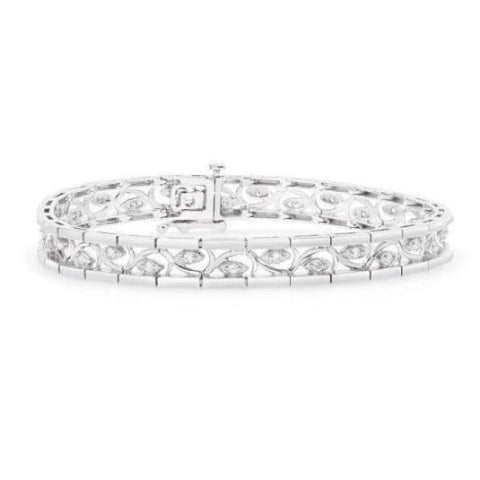 Image of Luxinelle 1/2 Carat Diamond Bracelet With Curved Inlay Eye - 14K White Gold Tennis Bracelet 7.25 Inches - Bracelet